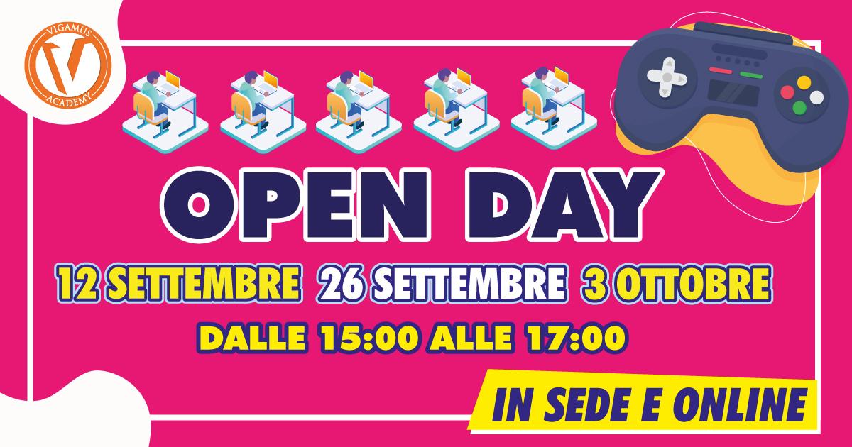 OPEN DAY IN SEDE E ONLINE: 12, 26 SETTEMBRE E 3 OTTOBRE